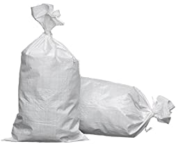 Sand Bags 14x26 Empty White Polypropylene. 20 Sand Bags with Ties Attached.