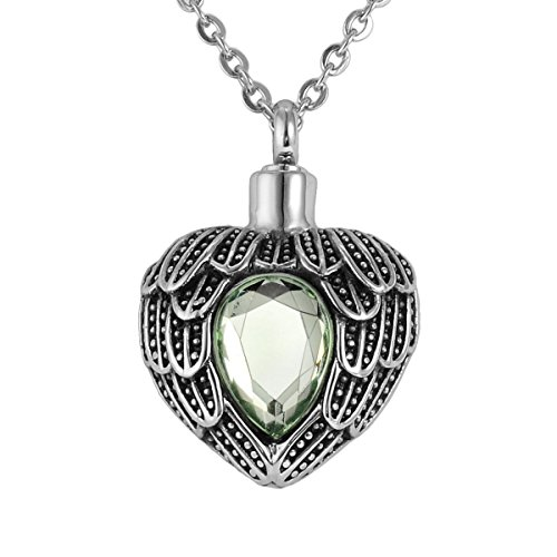 Valyria Angel Wing Birthstone Memorial Urn Necklace Stainless Steel Cremation Jewelry,Olive Green(August)