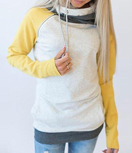 Cucitura Jumper Sweatshirt Hoodies Inverno Cappotto Colore Pullover Laterale Maniche Top Zip Giallo Giacca con Lunghe con Donne Cappuccio Autunno con Felpe Tasca w64nZYO