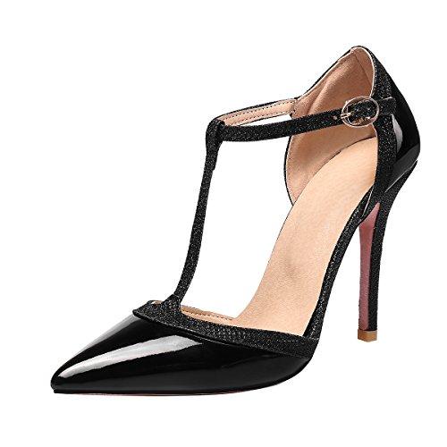 70a6fc8ae54b14 YE Damen T Strap Spitze Pumps Stiletto Lack High Heels mit Riemchen Glitzer  Elegant Schuhe Schwarz