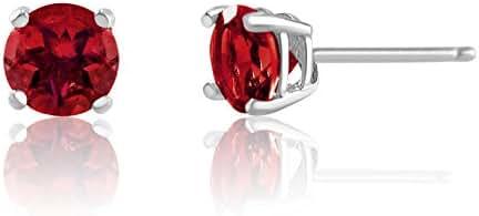 5mm Birthstone Round Cut Genuine Gemstone Rhodium Plated Sterling Silver Basket Setting Stud Earrings