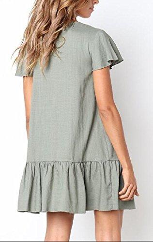 Green V Jaycargogo Dress Sleeve Women Summer Down with Neck Swing Midi Pockets Button Short vIBOI6nrqW