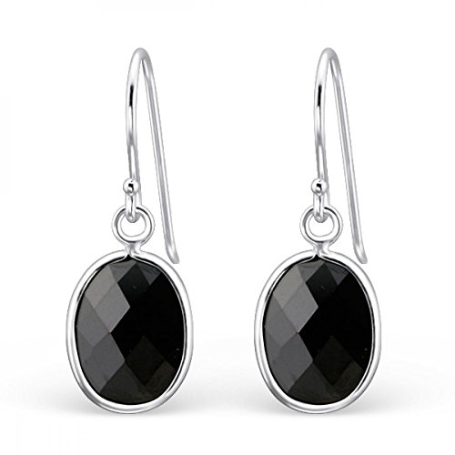 Sterling Silver Simulated Jet Oval Earrings with Cubic Zirconia (Jewel Jet)