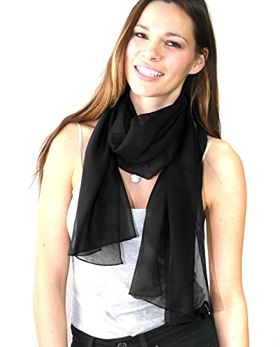 NYFASHION101 Women's Versatile Solid Sheer Chiffon Scarf Headwear - Black