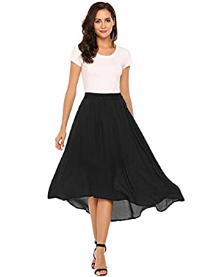 Zeagoo Summer Chiffon Maxi Skirt Long Flowy High Low Skirt for Women