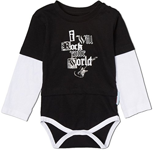 Silly Souls I Will Rock Your World Baby Onesie Black/White/Silver 3-6 Months