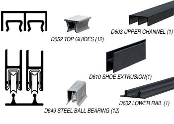 C.R. LAURENCE D2203BLBB CRL Flat Black Track Assembly D603 Upper and D602 Lower Track With Steel Ball-Bearing Wheels