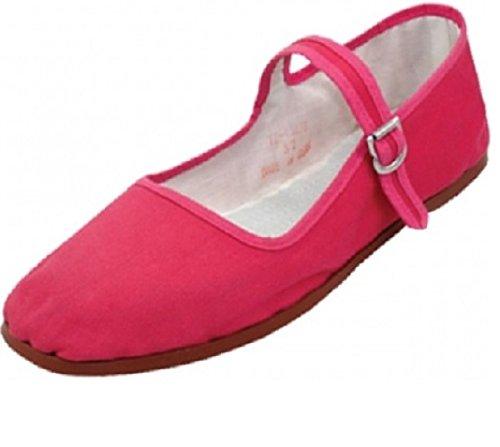 Mary Shoes Easy Women's Fushia Ballet Ballerina 114 USA Flats Cotton Shoes Jane t66rSOqw