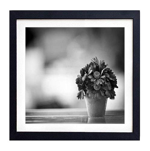 GLITZFAS PRINTS Framed Wall Art - Flower Pot Purple Petals - Art Print Black Wood Framed Wall Art Picture for Home Decoration - 18