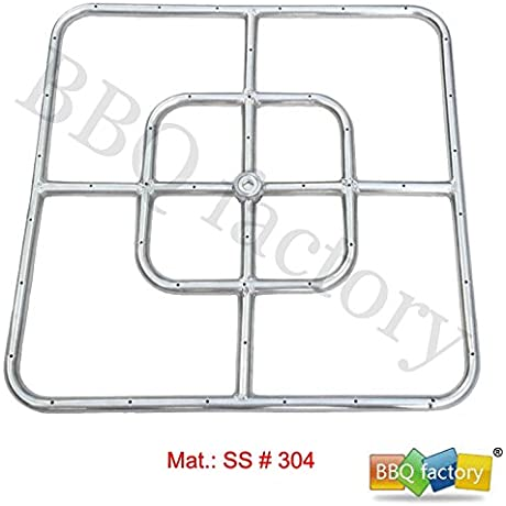 Bbq Factory Stainless Steel Fire Pit Square Burner 12 Inch X 12 Inch SS 304