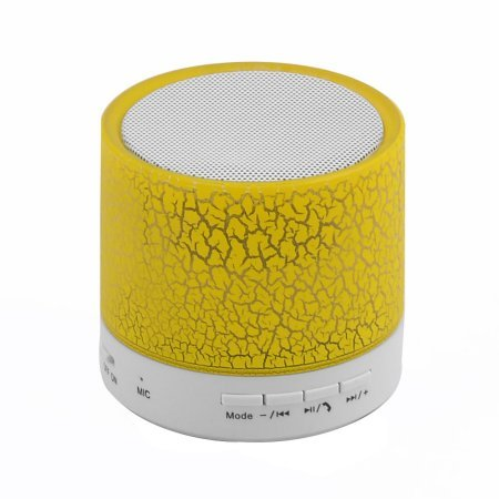 Mini LED Wireless Bluetooth Speaker Cracked Layer USB/TF Card/FM Music Sound Box Subwoofer with Colorful Light(Yellow)