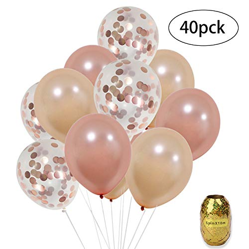 - Rose Gold Balloons - 40 Pack Rose Gold Confetti Balloons 12 inch and 10M Ribbons Rose Gold Party Decorations for Birthday Party Weddings Bridal Shower