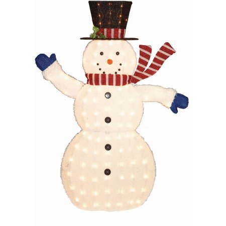 56'' Fluffy Snowman Sculpture, 100ct, Outdoor Decor, Incandescent by Holiday