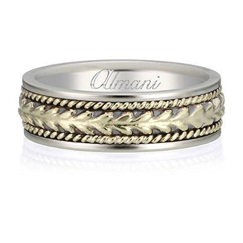 Almani 14K Gold 6.5mm Antique Wedding Band Arrowhead Yellow Center - Size - Womens Arrowhead Center