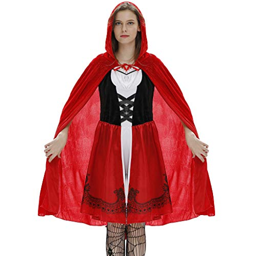Pin Up Red Riding Hood (Halloween Costumes for Women Sexy Cloak Dress Suit Little Red Riding Hood Cosplay Festival Party)