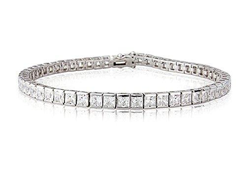 Bague en argent sterling CZ Bracelet Tennis 19,1cm poinçonné