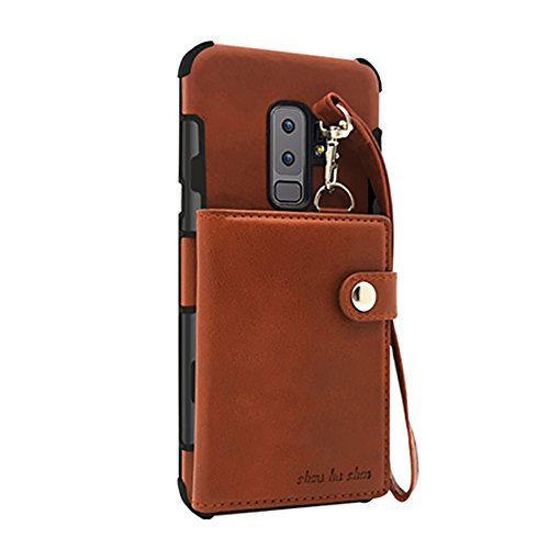 Price comparison product image Seabaras Galaxy S9 Plus Case PU Leather Wallet Bag Case Card Slot with Hand Strap for Galaxy S9 Plus (Brown)