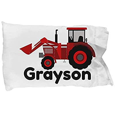 CLB Goods Tractor Pillowcase Personalized Gift for Kid Boy Toddler Tractor Lover Christmas Stocking Stuffer Birthday Easter Basket Stuffer, Red Farm Tractor Customized Name Pillow Case Slip: Home & Kitchen