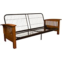 Brentwood Mission-Style Futon Sofa Sleeper Bed Frame, Queen-size, Medium Oak Arm Finish