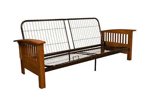 Brentwood Mission-Style Futon Sofa Sleeper Bed Frame, Queen-size, Medium Oak Arm Finish - Oak Sleeper Futon Frame