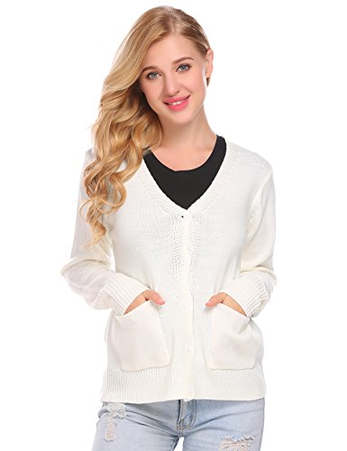 Mofavor Women's Fitted Snap Button Long Sleeve Cardigan Sweater