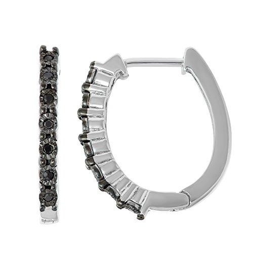 Sterling Silver Diamond Illusion Plate Hoop Earrings
