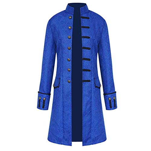 (Men's Steampunk Vintage Tailcoat Jacket Gothic Victorian Frock Black Steampunk Buttons Coat Uniform Costume)