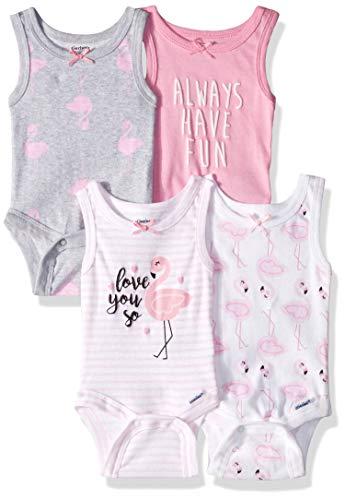 Gerber Baby Girls 4-Pack Sleeveless Onesies Bodysuit, Flamingo 0-3 Months