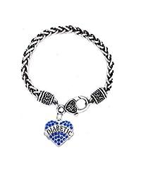 IDmed Diabetic Medical Alert Bracelet for Women White Rose Red Geen Blue Rhinestone Heart Pendant
