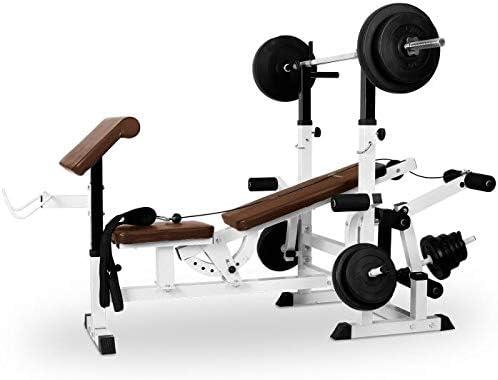 Klarfit FIT-KS02 Banco de Musculación con Curler y Set de Pesas - Entrenamiento para Cuerpo Entero, Butterfly, 280 kg de Carga máxima, Fácil Montaje, ...