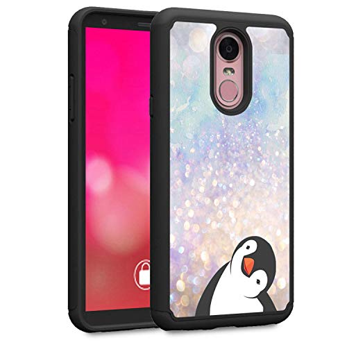 LG Stylo 4 Case, LG Q Stylus Case, LG Stylo 4 Plus Case, Rossy Heavy Duty Hybrid TPU Plastic Dual Layer Armor Defender Protection Case Cover for LG Stylo 4 2018,Black Crooked Neck Penguin