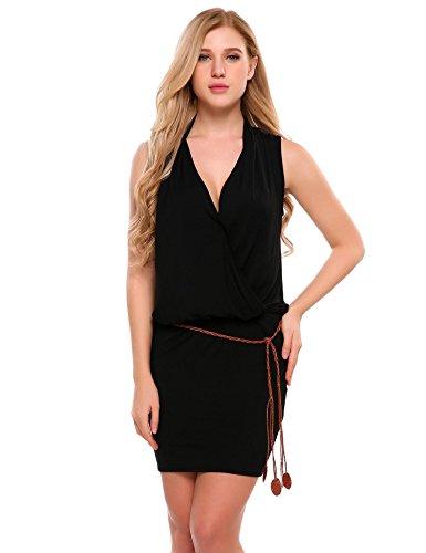 ANGVNS Womens Casual Sexy Mini Deep V-neck Sleeveless Summer Beach Dress With Belt,Black,X-Large
