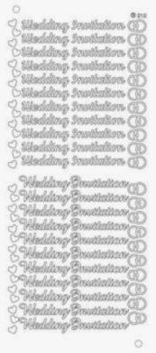 PEEL OFF STICKERS Wedding Invitation Silver 2 X SHEETS