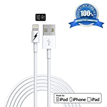 [Apple MFi Certified] [10 FT] Lightning to USB Charger and Sync Cable for iPhone 6 6Plus 5s 5c 5, iPad Air mini, iPad 4th gen, iPod touch 5th gen, iPod nano 7th gen (White - 3 Meters) Extremely Durable with Lifetime Guarantee!