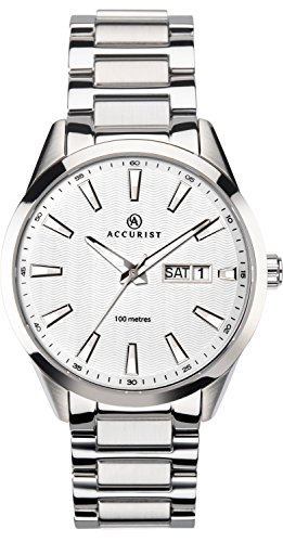 Accurist Gents Analogue Quartz Watch With White Dial And Silver Stainless Steel Bracelet 7218