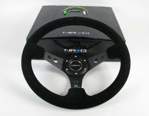 NRG Steering Wheel - 06 (Deep Dish) - 350mm (13.78 inches) - Black Suede with Black Spokes - Part # ST-006S