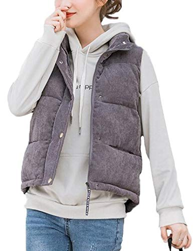 D.B.M Women's Stand Collar Hoodless Solid Color Corduroy Vest Cotton Coat (Large, Dark-Gray)