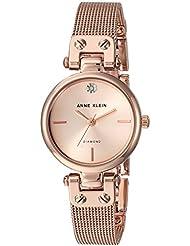 Anne Klein Womens AK/3002RGRG Diamond-Accented Rose Gold-Tone Mesh Bracelet Watch