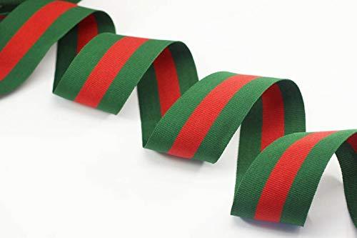 40 mm Red&Green Striped Ribbon Trim, Gucci Inspired Grosgrain Ribbon, Ribbon, Double Faced Gross Grain Trim, Ribbon, Belt Ribbon (10 Meters/ 32.8 ft)