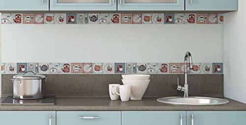 BRIKETO Kitchen Decorative Border Tile Stickers Set 6 Units 1.5 feet Long Each. Peel & Stick Adhesive Vinyl Border Tiles. Backsplash Contour Detail. Home & Furniture Decor. Mirror Decor.