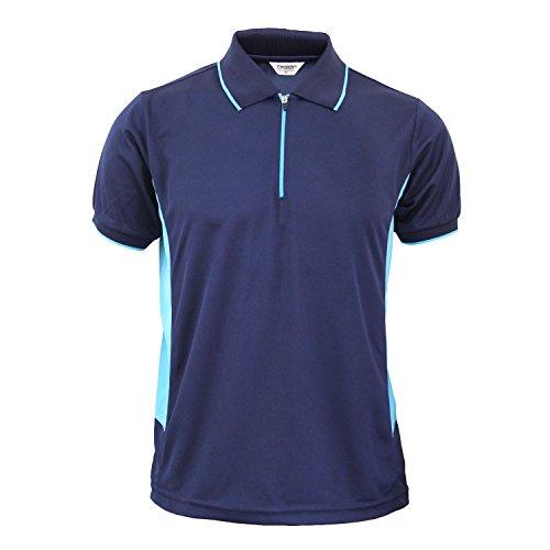 BCPOLO Coolon Sportswear Poloshirt Zip-up-Stil Kurzarm Hemd-Marineblau