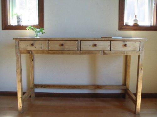 カントリー家具 デスク(W120)引出4 M 机 ハンドメイド家具 ナチュラルカントリー 学習机 作業台 棚 天然 無垢 B00G2Y4PNQミディアム