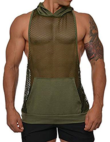 COOFANDY Mens Long Sleeves Muscle See Through Sexy Mesh Transparent Shirt with Hoodie,Green,Large