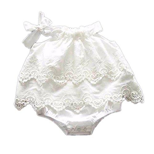 Colorful Childhood Newborn Baby Romper Girls Jumpsuit Infant Bodysuit Tutu Lace Dress Clothes Outfit White Size 6-12M