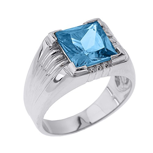 Men's 925 Sterling Silver Square-Cut CZ Statement Ring, Size 10 by Men's Fine Jewelry (Image #2)