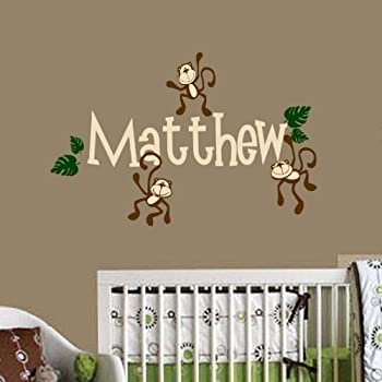 Amazon monkey wall decal personalized baby nursery play monkey wall decal personalized baby nursery play room vinyl decal sticker shower gift decor negle Image collections