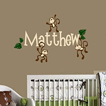 Monkey Wall Decal Personalized Baby, Nursery, Play Room Vinyl Decal Sticker  Shower Gift Decor Part 23
