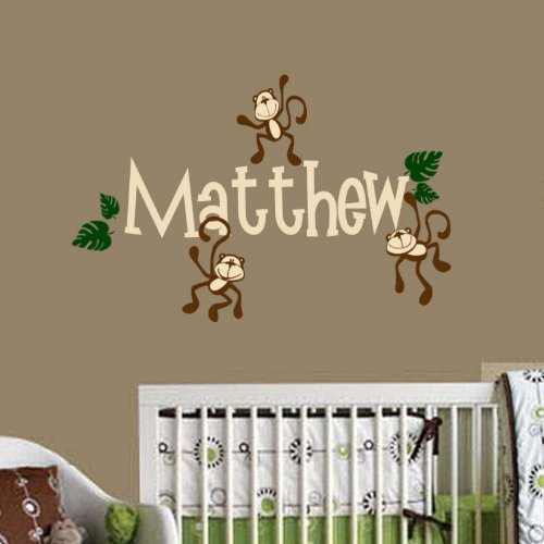 Monkey Wall Decal Personalized Baby, Nursery, Play Room Vinyl Decal Sticker Shower Gift Decor