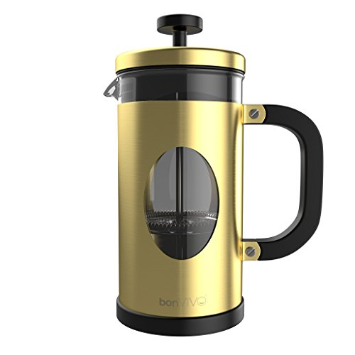 bonVIVO GAZETARO I Design French Press Made Of Stainless Steel And Glass In Gold Finish