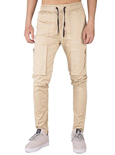 THE AWOKEN Men's Chino Cargo Slim Fit Pant Multi Pockets (Cream Khaki, S) Khaki Cargo Cream